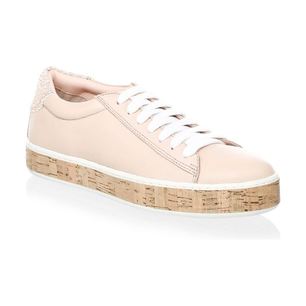 Kate Spade New York amy leather platform sneakers in ballet - Leather sneakers with sparkling embellishments on back....