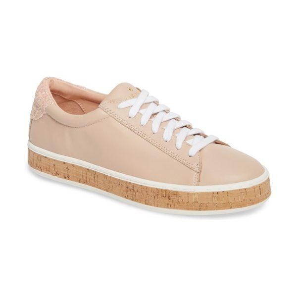 KATE SPADE NEW YORK amy sneaker in ballet pink nappa - A sprinkling of colorful glitter at the heel counter...
