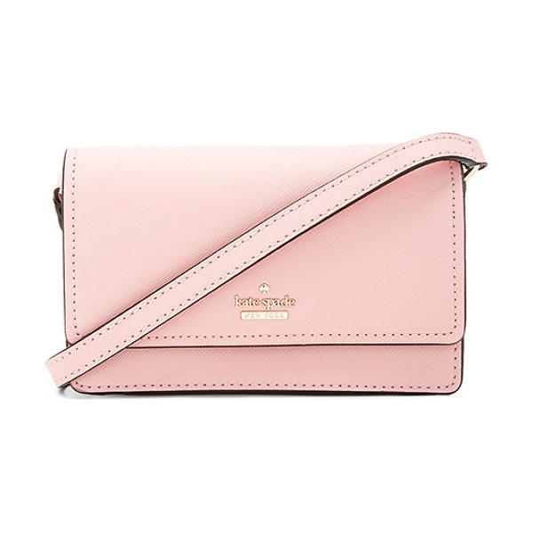 Kate Spade New York Arielle Crossbody in pink sunset - Leather exterior with print poly lining. Flap top with...