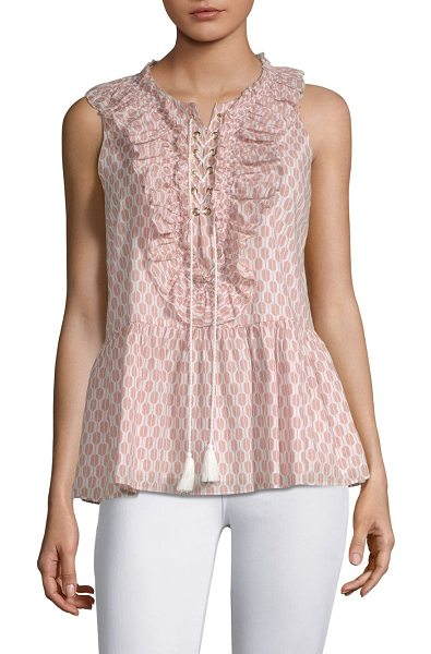 KATE SPADE NEW YORK arrow stripe lace-up cotton top in fresh white conch shell - Printed cotton peplum top adorned with ruffled trim....