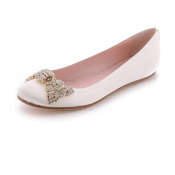 Kate Spade New York Ballie bow flats in ivory/cream - A crystal bow details the vamp of romantic Kate Spade...