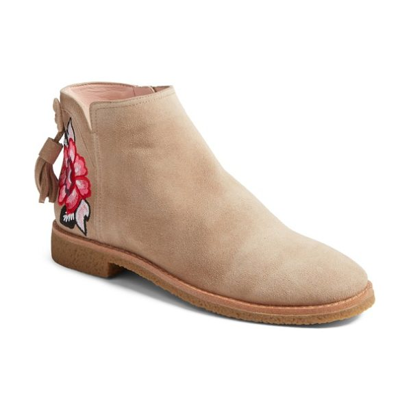 Kate Spade New York belleville bootie in desert cow suede - A beautifully vibrant embroidered bloom distinguishes...