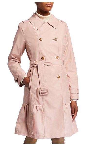 Kate Spade New York belted prairie style midi trench coat in light pink