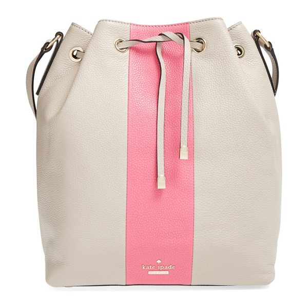 Kate Spade New York Bennett street in clock tower/ deco rose - A bold vertical racing stripe styles a pebbled leather...