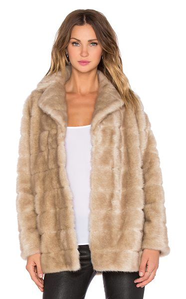 Kate Spade New York Blonde mink faux fur coat in beige