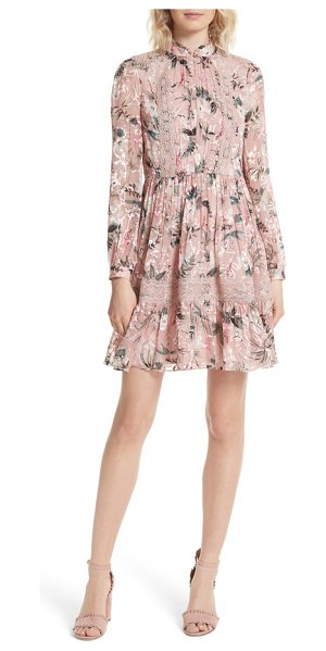 Kate Spade New York botanical chiffon mini dress in cameo pink - Fashion yourself for romance in this silk-enriched frock...