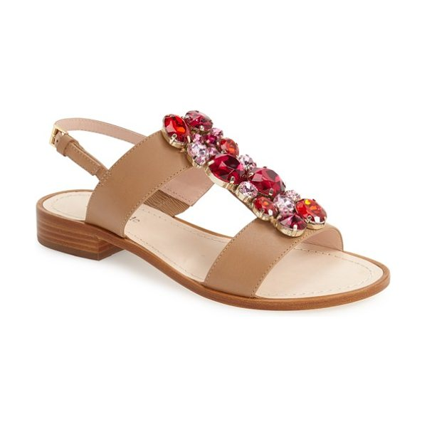 Kate Spade New York brigit crystal embellished sandal in natural vacchetta - A playful band of multifaceted crystals adds...