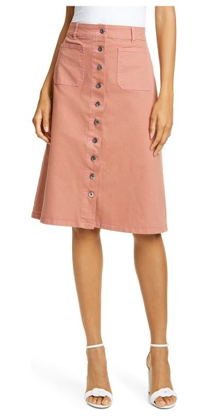 Kate Spade New York button front denim skirt in beige