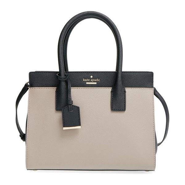 Kate Spade New York Cameron street -small candace satchel in warm putty/black - Crosshatch-textured leather and a classic, structured...