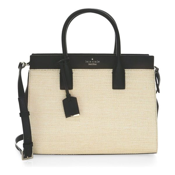 Kate Spade New York cameron street straw candace satchel in naturalblack - From the Cameron Street Straw collection. On-trend...