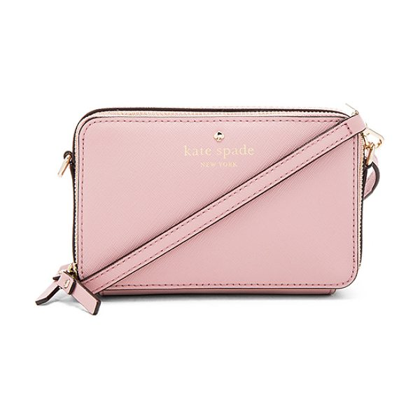 Kate Spade New York Carine Crossbody in blush - Leather exterior with jacquard fabric lining. Double zip...
