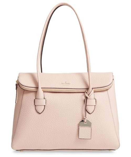 Kate Spade New York carter street in barely there - Lavishly textured leather enhances a spacious foldover...