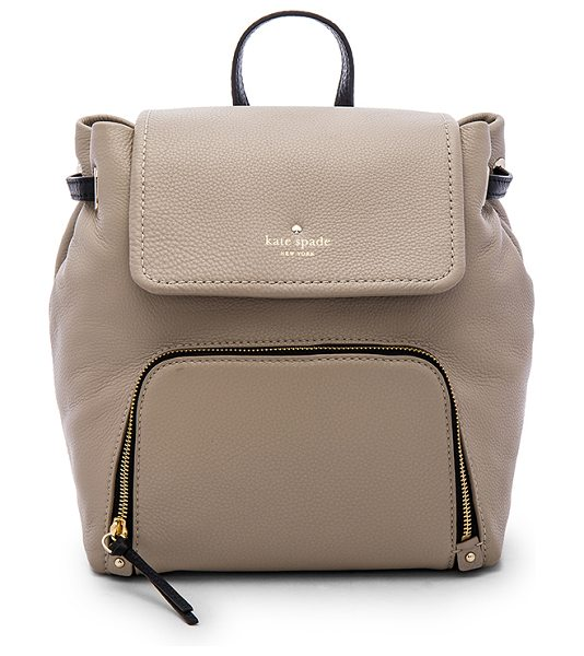 Kate Spade New York Charley backpack in taupe - Cow leather exterior with poly lining. Flap top with...