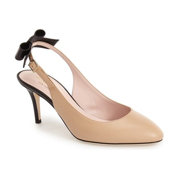 Kate Spade New York chiara slingback pump in natural - A saucy bow accents the slender slingback strap of a...
