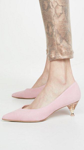 Kate Spade New York coco point toe pumps in rococo pink - Leather: Goatskin Acrylic heel with crytal accent Pumps...