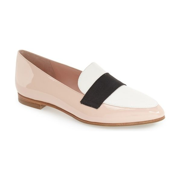Kate Spade New York corina pointy toe loafer in rose - A grosgrain-ribbon accent crosses the vamp of a...