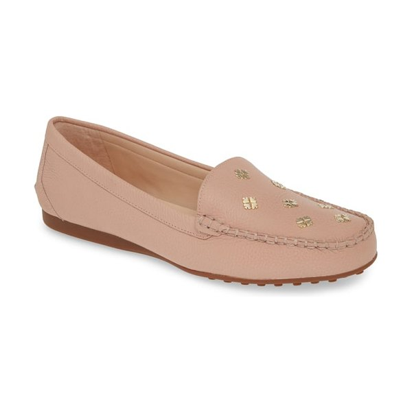 Kate Spade New York cyanna driving loafer in pink - Polished spade charms pattern the moc-stitched toe of a...