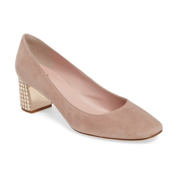 Kate Spade New York danika too pump in fawn kid suede/ light natural - A wardrobe-staple suede pump offers a flash of the...