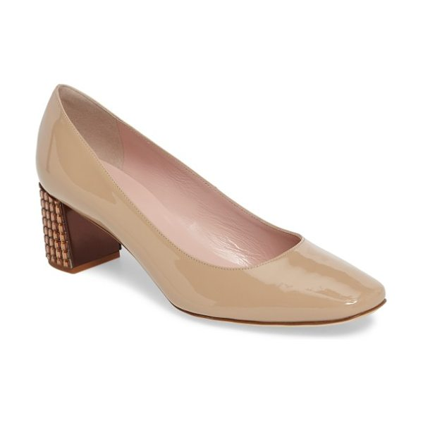 Kate Spade New York danika too pump in powder patent/ honey - A wardrobe-staple suede pump offers a flash of the...