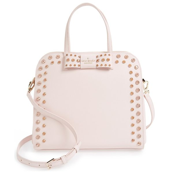 KATE SPADE NEW YORK Davies mews in ballet slipper - Gleaming gems embellish a curvy satchel crafted from...