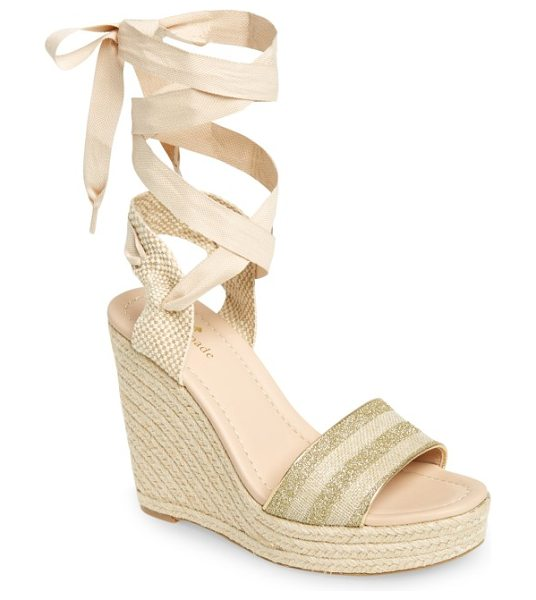 Kate Spade New York delano wedge sandal in gold/ natural glitter - Subtle stripes of glitter enliven the toe strap of a...