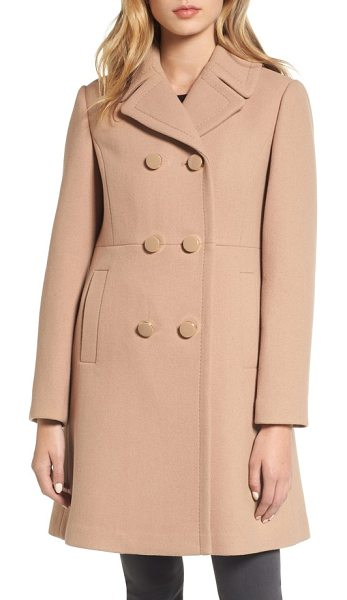Kate Spade New York double breasted coat in camel - Glossy, logo-rimmed buttons and a princess-seamed...