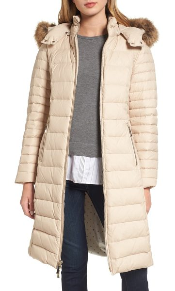 Kate Spade New York down puffer coat with faux fur trim in deco beige - A soft ruff of faux fur trims the hood of a cozy down...