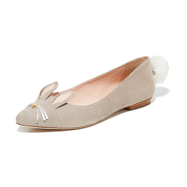 Kate Spade New York edina flats in clay - A faux fur poof and rabbit ears add a playful touch to...