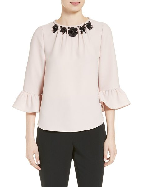 KATE SPADE NEW YORK embellished crepe top in pink champagne - Three-dimensional embellishments make a sparkling focal...