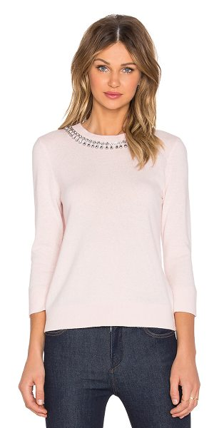 Kate Spade New York Embellished necklace sweater in pink - 49% wool 37% modal 10% polyamide 4% cashmere. Dry clean...