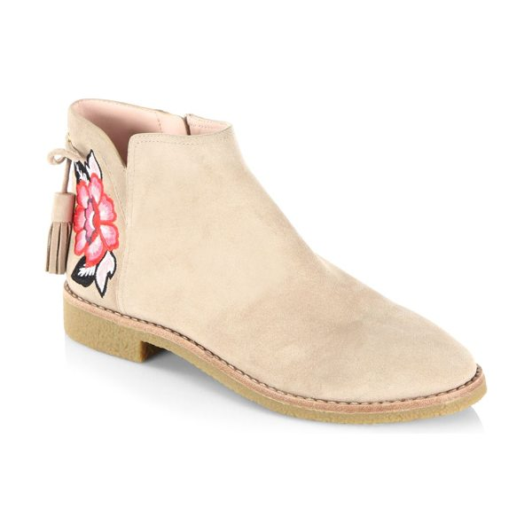 Kate Spade New York embroidered suede boots in desert - Suede boots with fringe lace and rose applique. Suede...