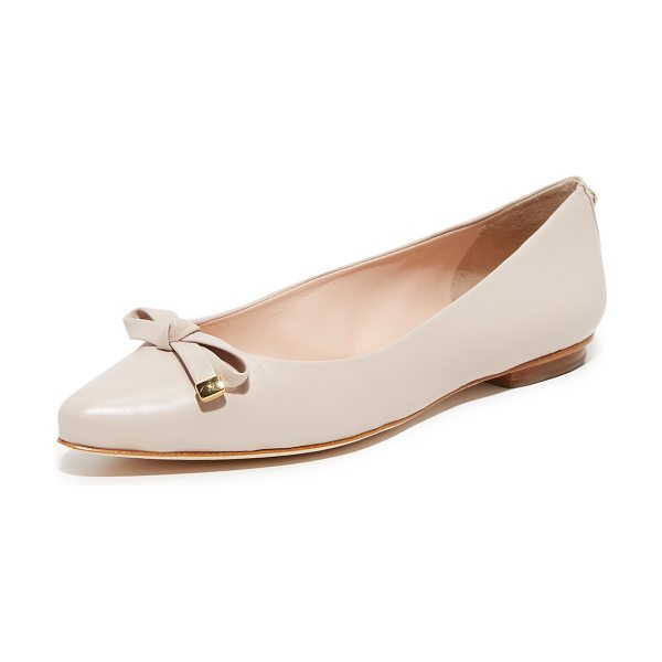Kate Spade New York Emma Flats in pale pink - A knotted bow with metallic detailing accents the...