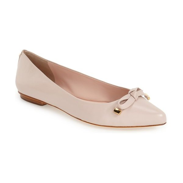 Kate Spade New York 'emma' pointy toe flat in pale pink nappa - Polished hardware highlights the dainty bow...