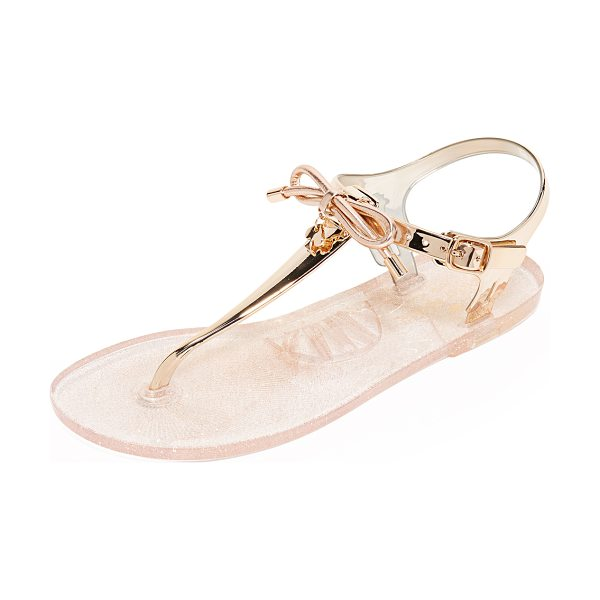 Kate Spade New York fanley jelly sandals in rose gold - Metallic rubber adds a glam feel to these glitter...