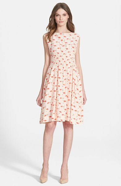 Kate Spade New York flamingo blaire dress in shell - Painted flamingos strike a pose atop a charming...