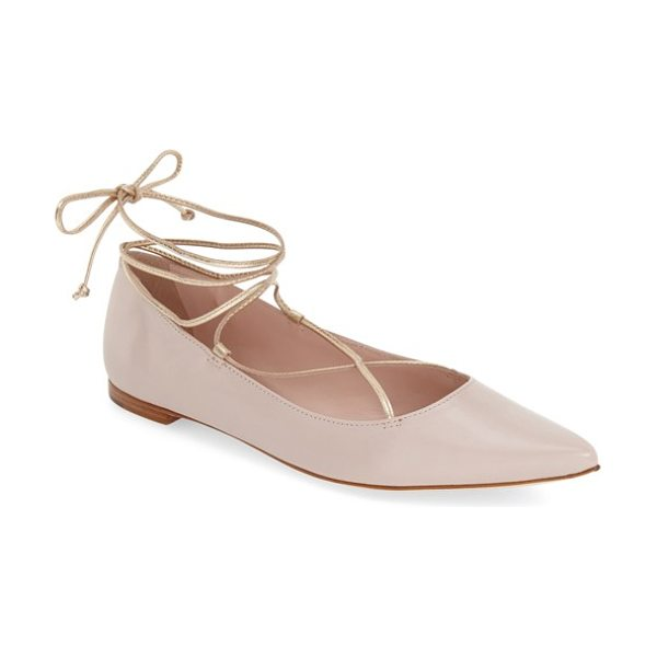 KATE SPADE NEW YORK genie pointy toe lace up flat - Delicate leather straps crisscross at the instep and...
