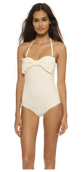 KATE SPADE NEW YORK Georgica beach maillot - A centered knot cinches the oversized bow on this solid...