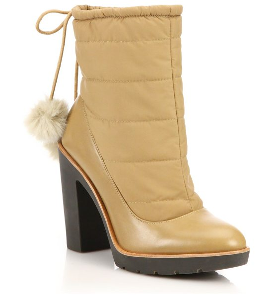 KATE SPADE NEW YORK Ginnie faux-fur pom-pom booties - A work boot-inspired silhouette is lend a dose of...
