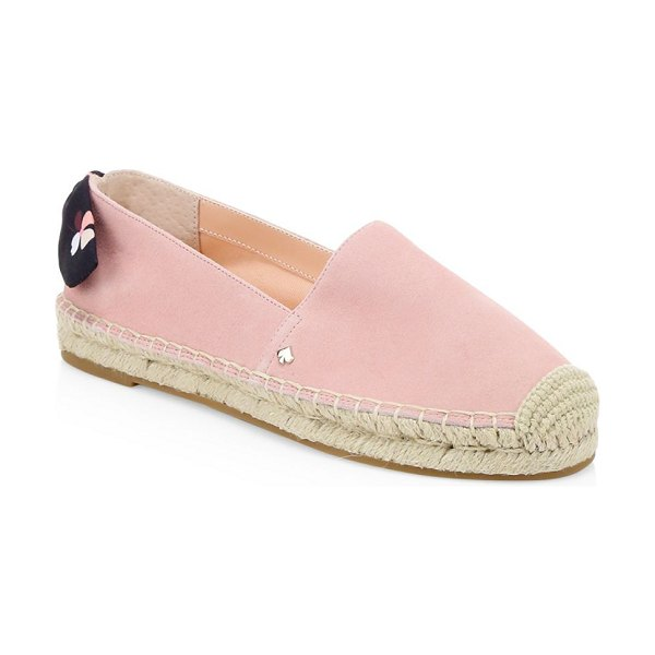 Kate Spade New York grayson suede espadrilles in pink - Closed toe suedeespadrilles with a sweet polka-dot bow...