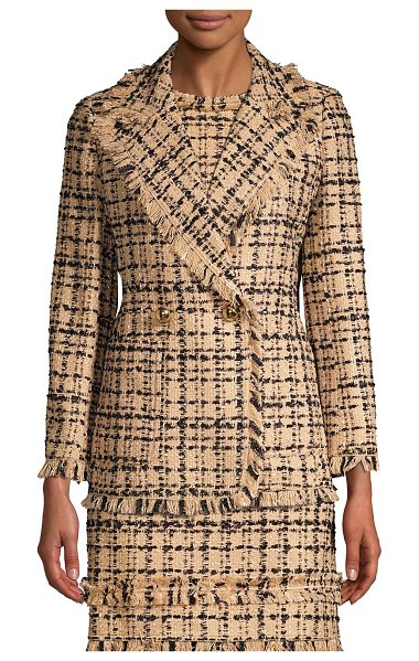 Kate Spade New York bi-color tweed blazer in roasted peanut black - Fringed trim and glossy goldtone buttons add flair to...