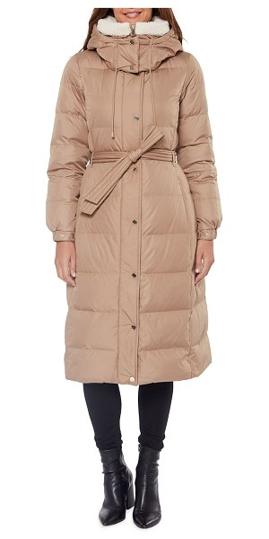 Kate Spade New York heavyweight belted maxi down coat in camel