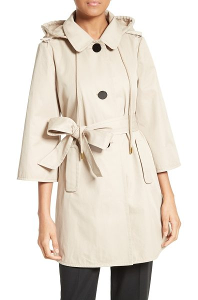 KATE SPADE NEW YORK hooded twill coat - Oversized buttons and a flared silhouette put a playful...