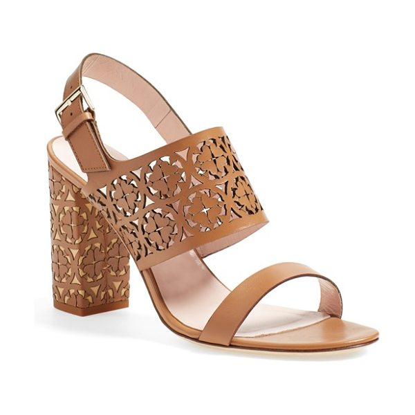 Kate Spade New York imani too slingback sandal in light luggage calf - Intricate floral cutouts lend a rich, artisanal look to...