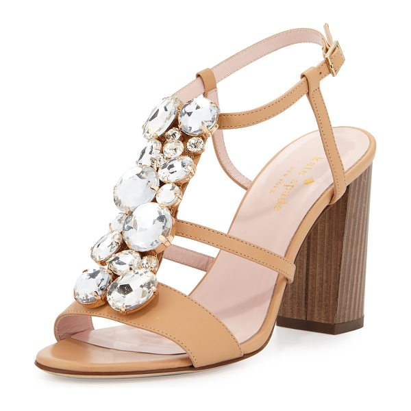 "Kate Spade New York isabell jeweled 90mm sandal in natural - kate spade new york calf leather sandal. 3.5"" wooden..."