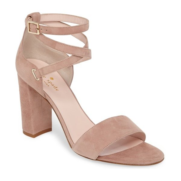 Kate Spade New York isolde sandal in fawn suede - Slender straps cross and wrap artfully at the ankle of a...
