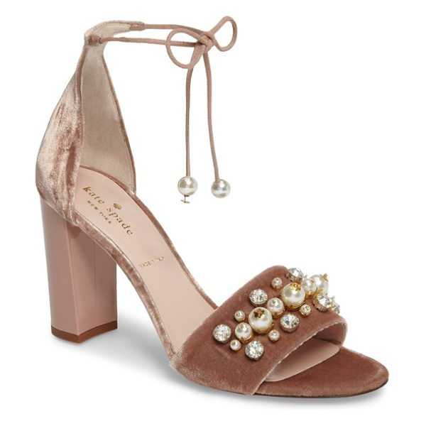 KATE SPADE NEW YORK iverna embellished sandal - Plush velvet, imitation pearls at the toe strap and...