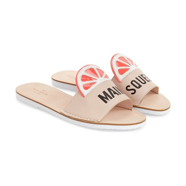 Kate Spade New York izella slide sandal in pale pink soft vachetta - Brightly colored citrus slices adorn the vamp of a...