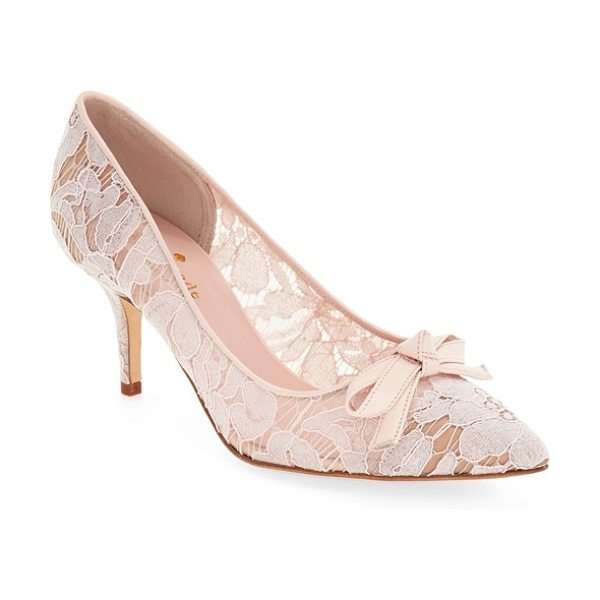 Kate Spade New York 'jace' velvet bow lace pump in blush - A velvety bow and delicate floral lace add to the...