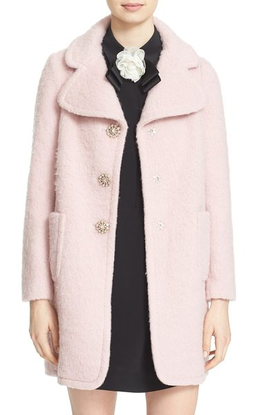 Kate Spade New York jewel button coat in icy rose - A trio of jewel-encrusted snap buttons puts a vintage...