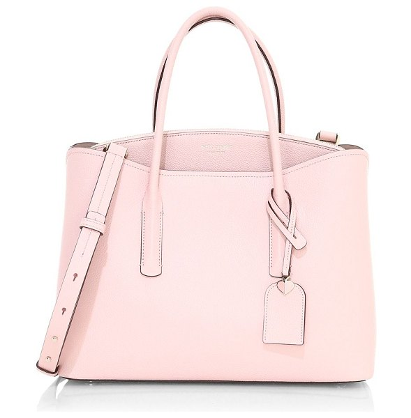 Kate Spade New York large margaux leather satchel in tutu pink